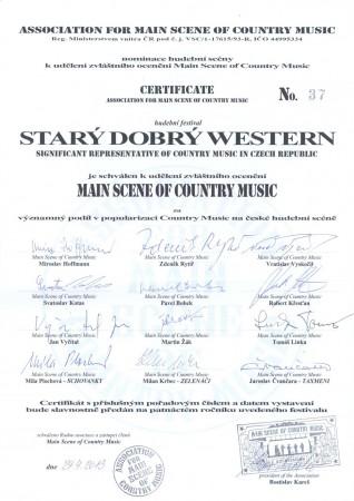 Certifikát Asociace hlavní scény country hudby